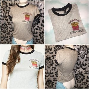 "Forever 21 ""Exercise/Extra Fries"" Baby Tee S"